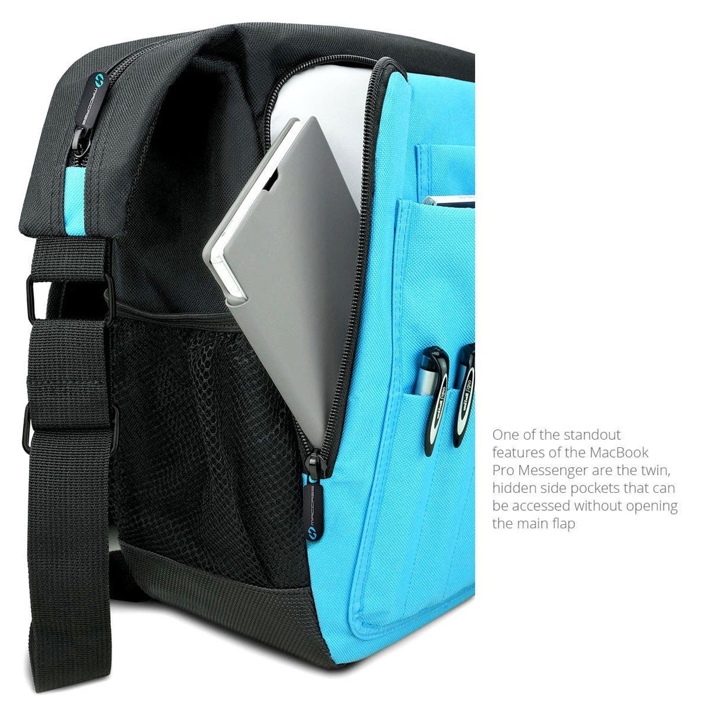 The twin hidden side pockets of the MacCase MacBook Pro Messenger Bags