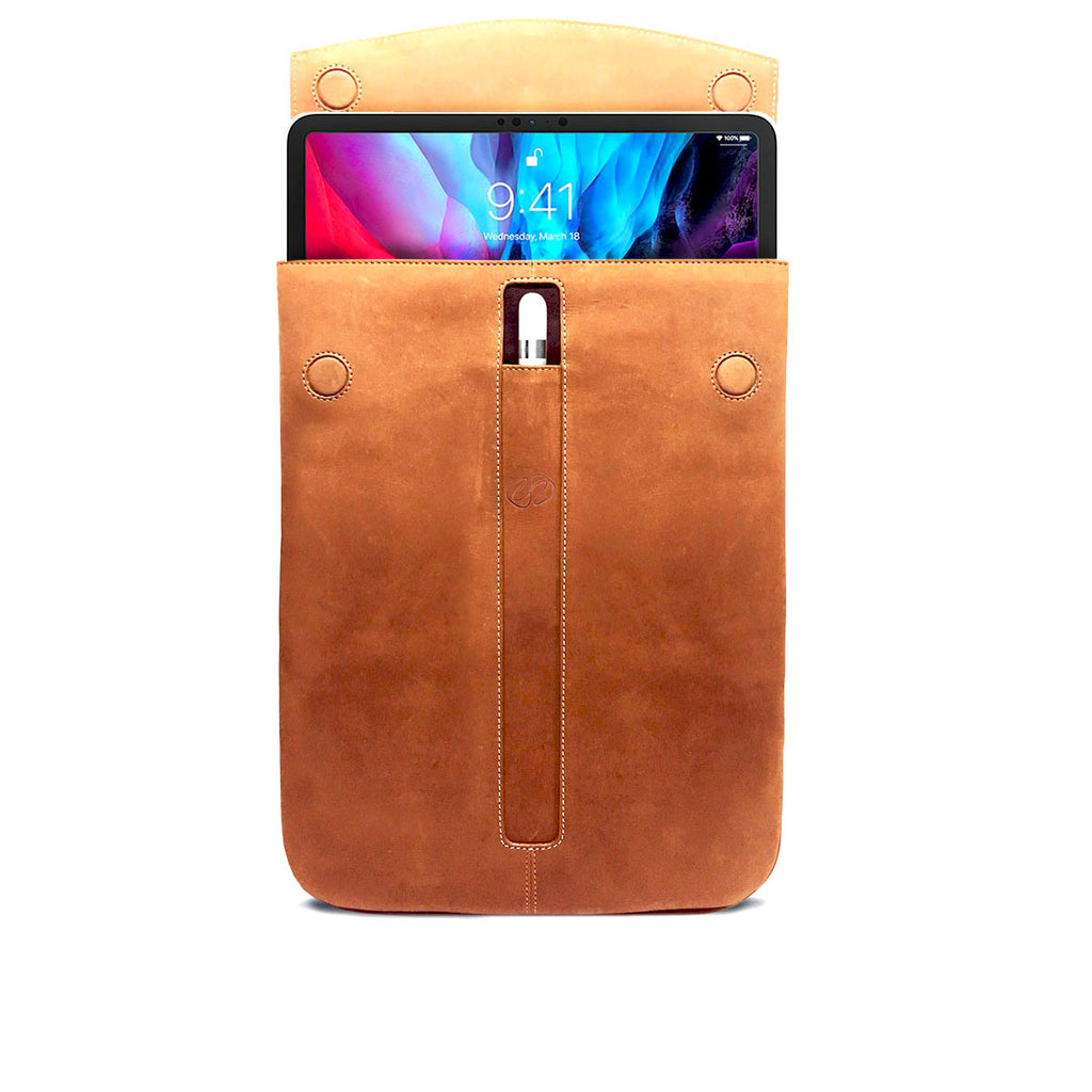 Swatch-Vintage Open view of the Premium Leather 2020 iPad Pro Sleeve