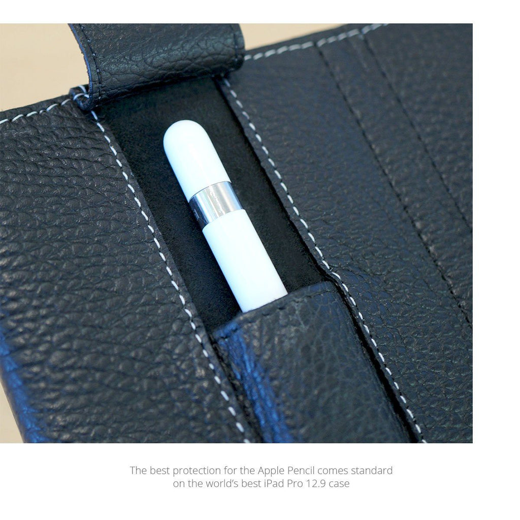 Detail view of the Apple pencil in the front pocket of the leather 9.7 cases