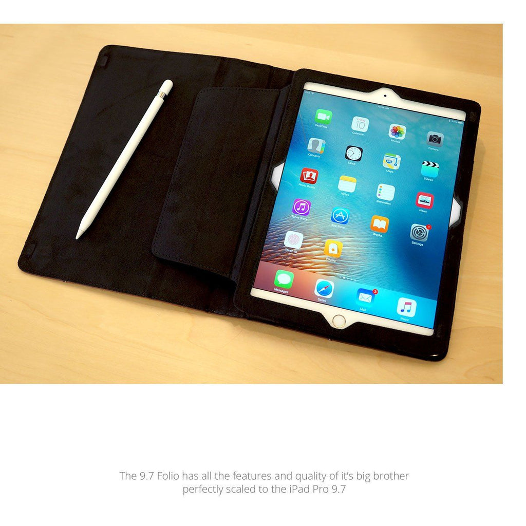 Open View of MacCase Leather iPad 9.7 Folio with Apple pencil