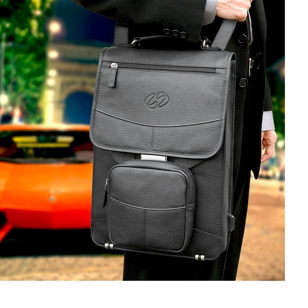 A Black MacCase Premium Leather Briefcase in Paris