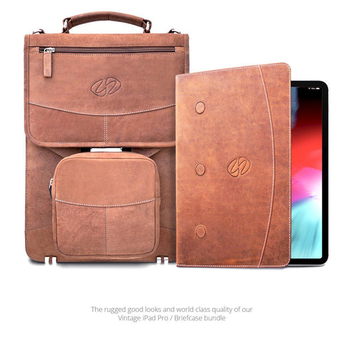 Swatch-Vintage Front View of the MacCase Premium Vintage Leather iPad Pro Bundle - Briefcase with Folio
