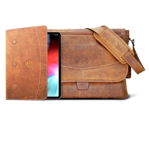 Swatch-Vintage Best Leather iPad Pro Bundle - Messenger Bag and Folio shown in Vintage