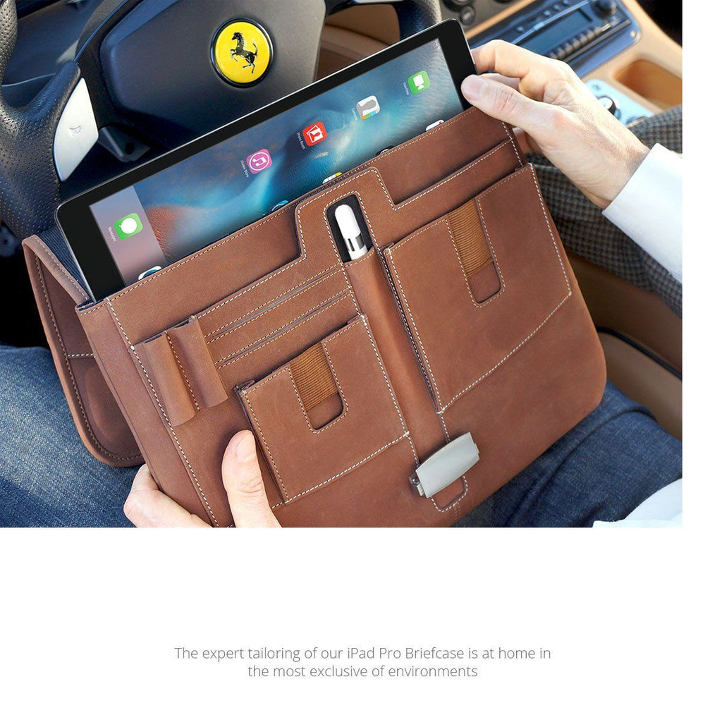 Front panel organizer of the leather iPad Pro Briefcase by MacCase