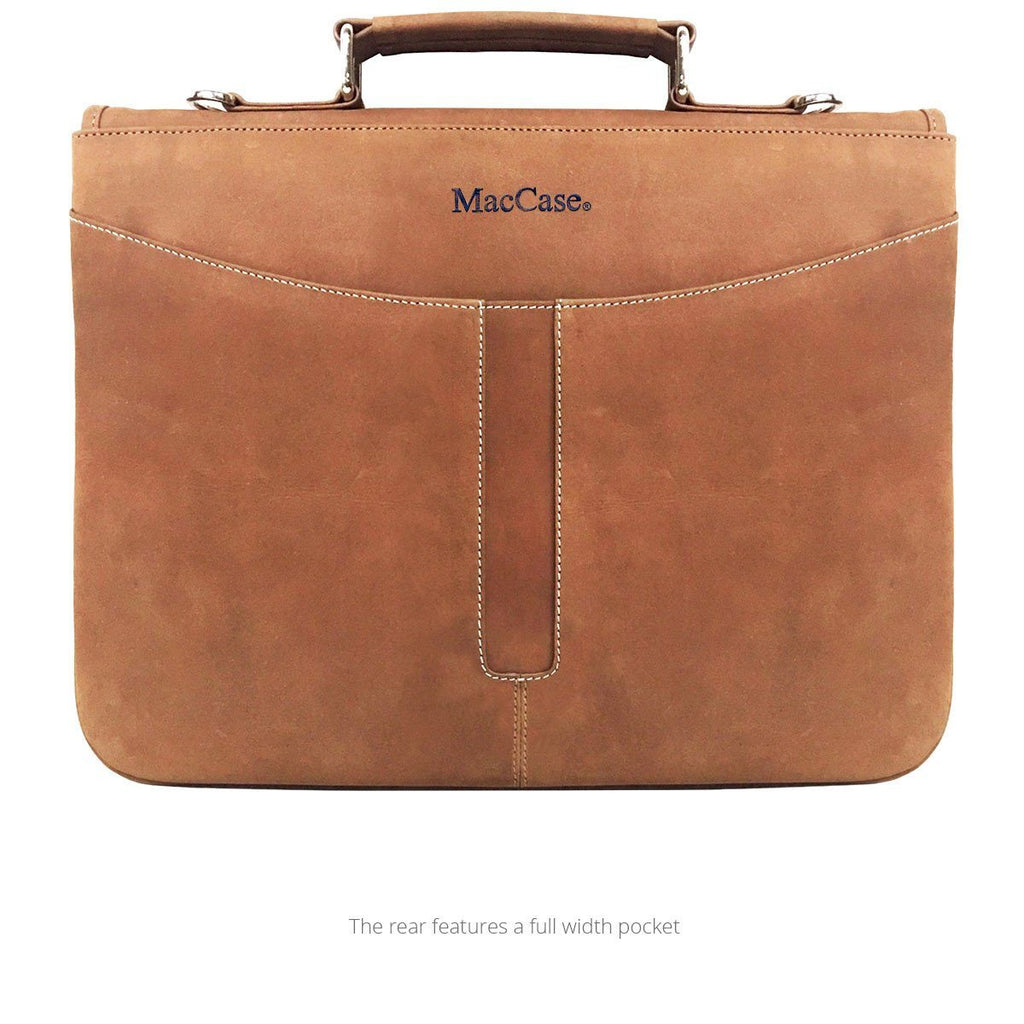 Rear view of the MacCase leather iPad Pro briefcase