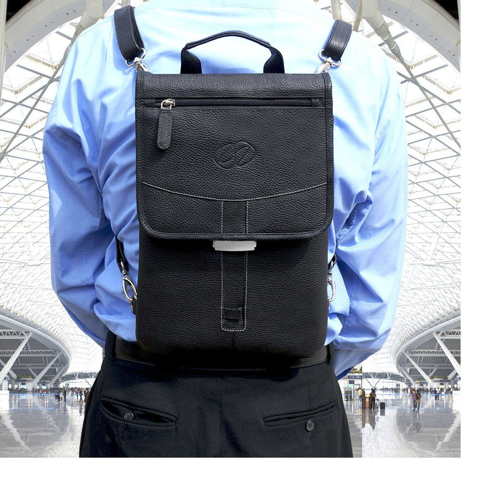 MacCase Premium Leather iPad Pro Flight Jacket Worn as a Backpack shown in Black