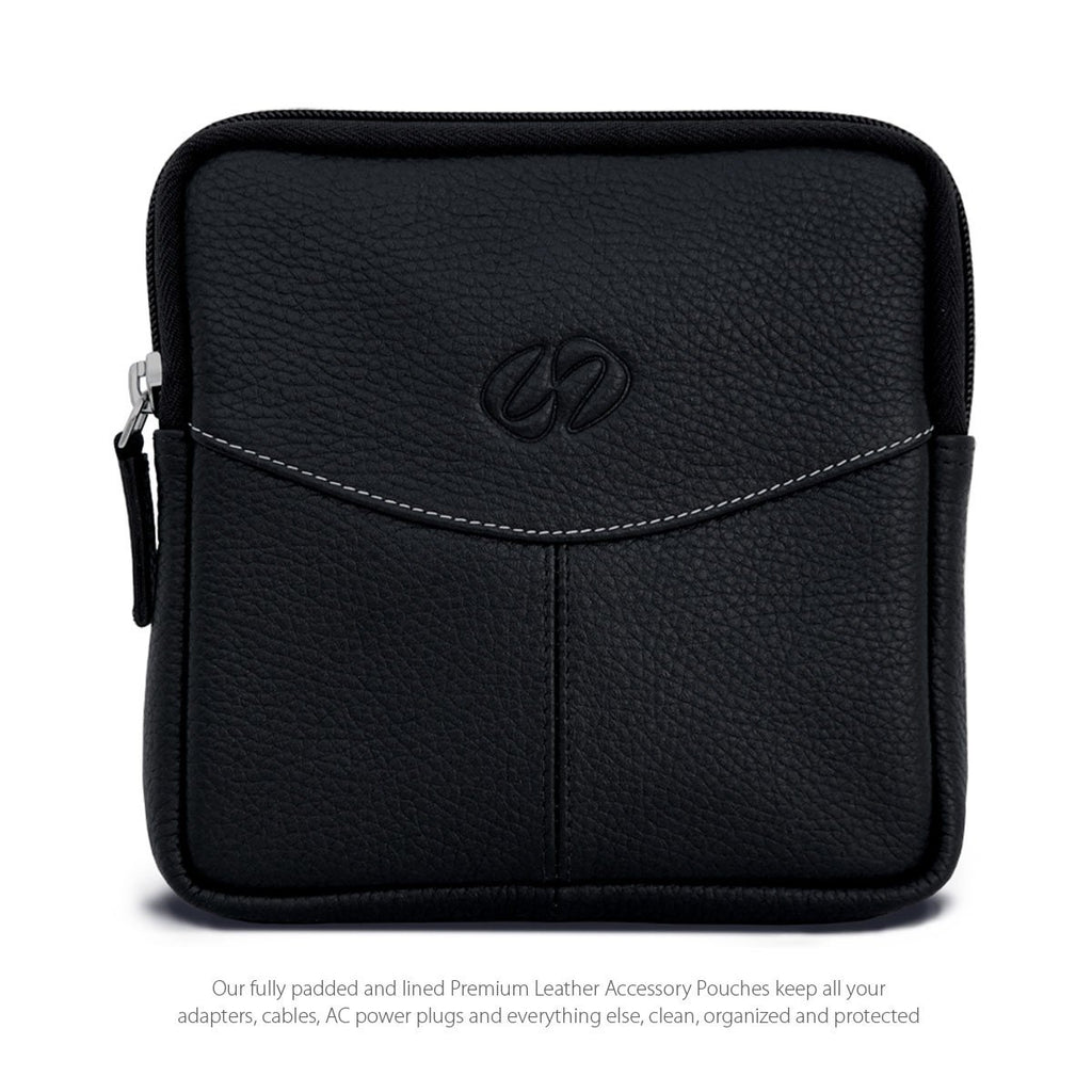 Swatch-Black MacCase Premium Leather Accessory Pouch Shown in Black