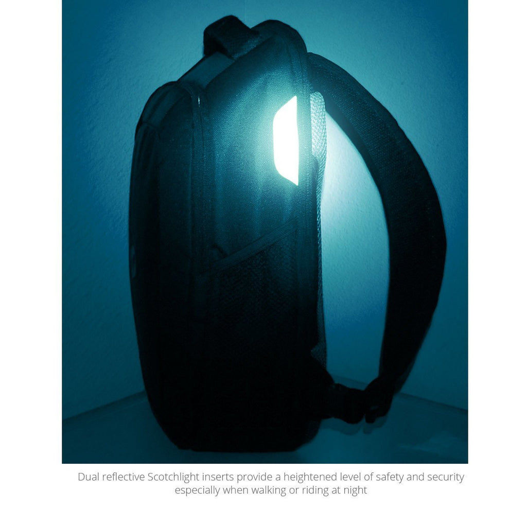 The reflective inserts of the Laptop Backpack by MacCase aglow