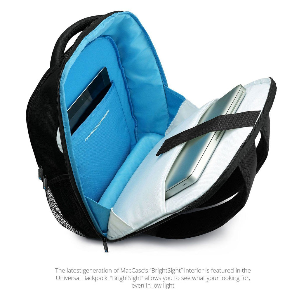 Open view of the MacCase Universal Laptop Backpack showing the new BRIGHTSIGHT 2.0 interior