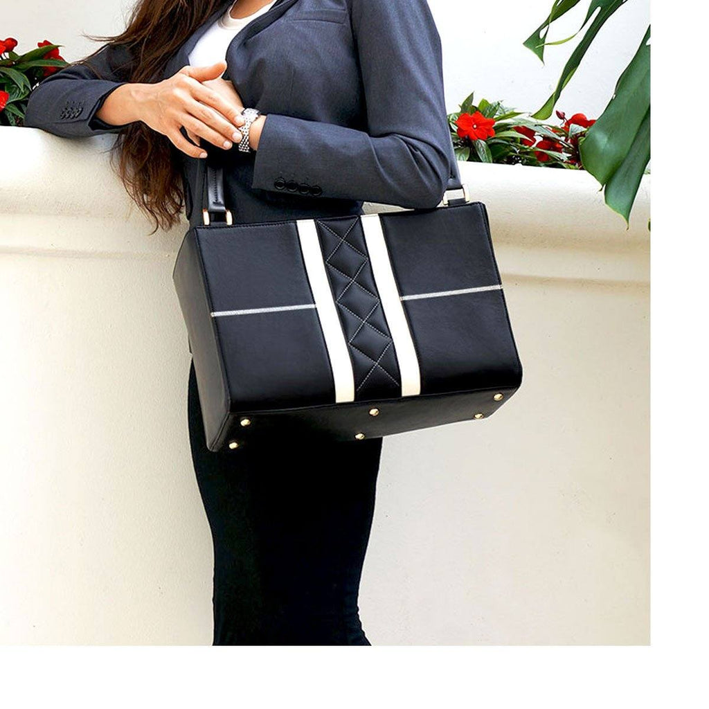 The best black leather women's business tote by MacCase