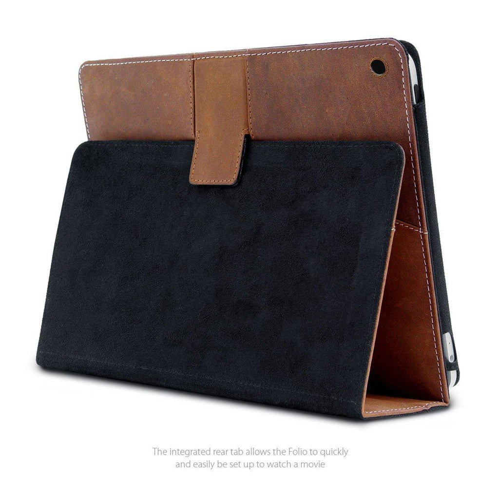 Rear View of best leather iPad 9.7 Folio shown in movie mode
