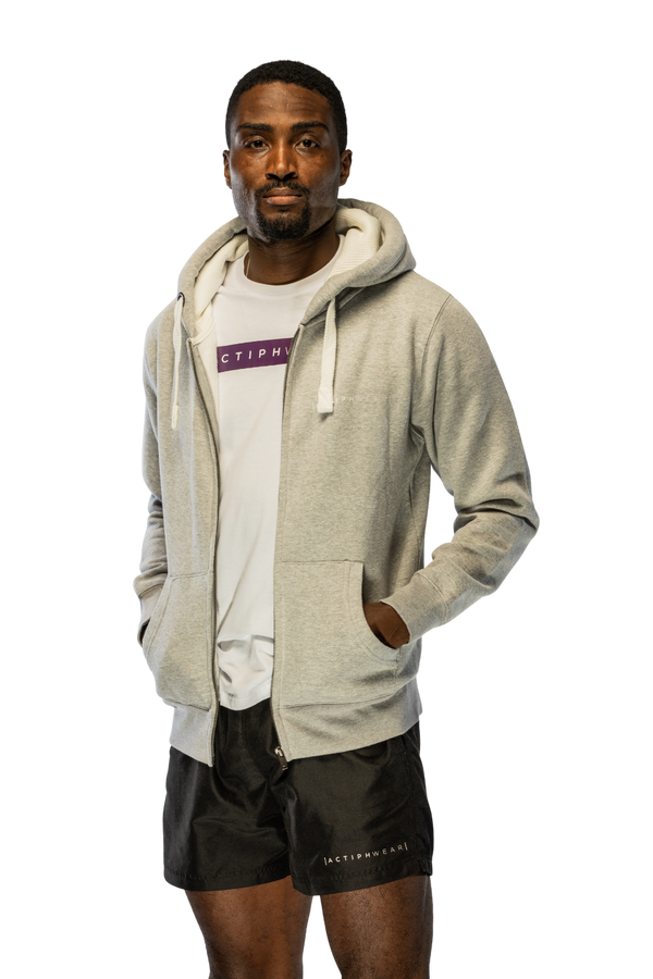 ActiphWear Unisex Premium Zipped Hoody - Grey