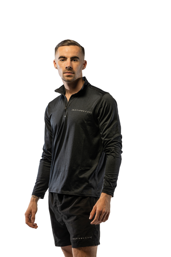 ActiphWear Unisex ¼ Zip 'Rhino Skin' Top - Black