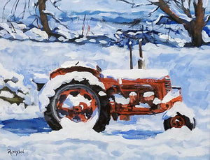 A Case For Winter Acrylic Painting by Douglas Runyan Red Tractor in Snow