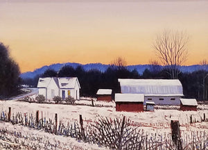 A Small Indiana Farm Oil on Panel Painting by James Tracy