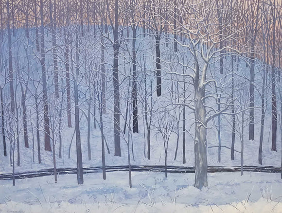 A Winter Morning A Long Time Ago Oil on Panel Painting by James Tracy