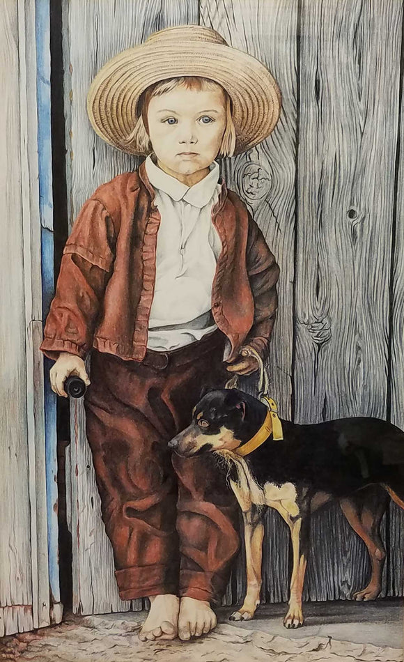 Amish Boy & His Dog Colored Pencil Painting by Barry Powell