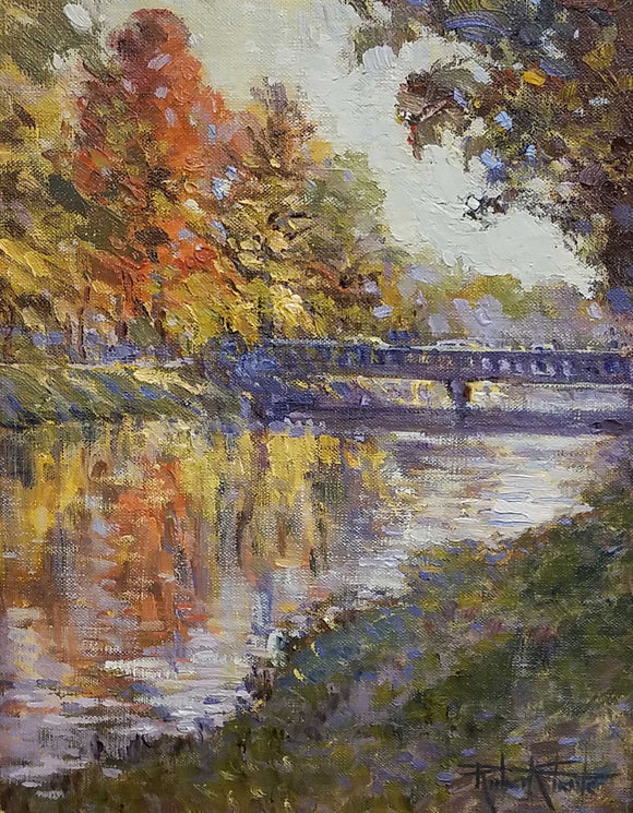 Autumn In Broad Ripple Oil Painting by Robert Eberle