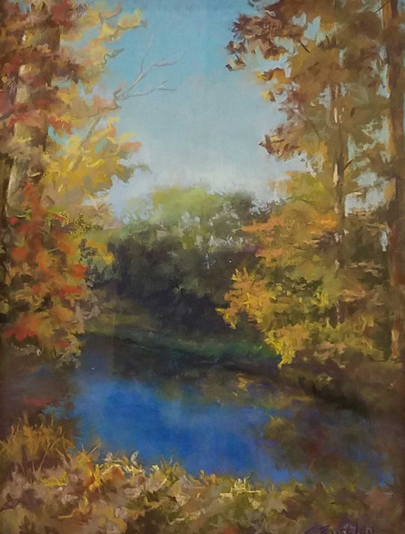 Autumn Waters Pastel Painting by Susie Byerley