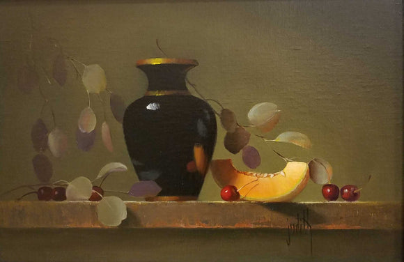 Black Vase With Melon Oil Painting by Judith Lewis