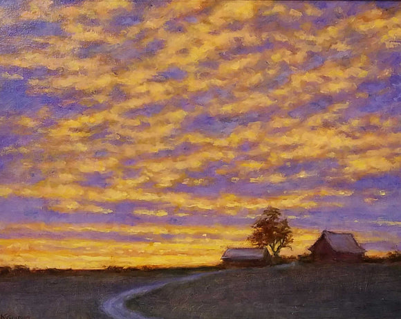 Cedar Town Sundown Oil Painting by Karen Graeser