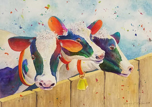Cow Committee Watercolor by Beverly S. Mathis