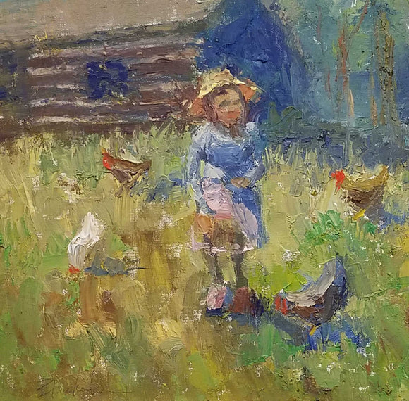 Feeding Chickens oil painting by Kathy Blankenheim Indiana Artist