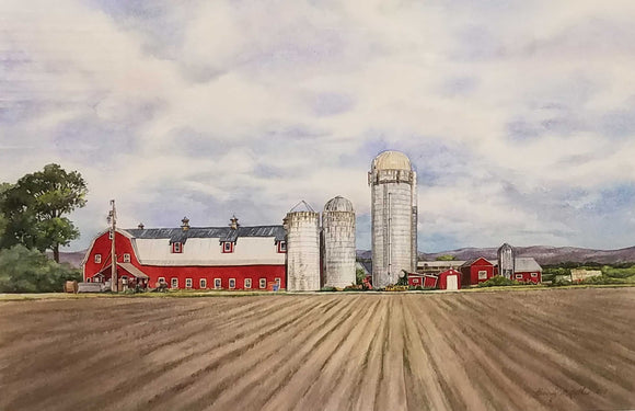 Ferme Fontaine Watercolor Painting by Beverly S. Mathis
