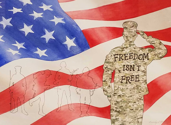 Freedom Watercolor and Ink Painting by Beverly S. Mathis