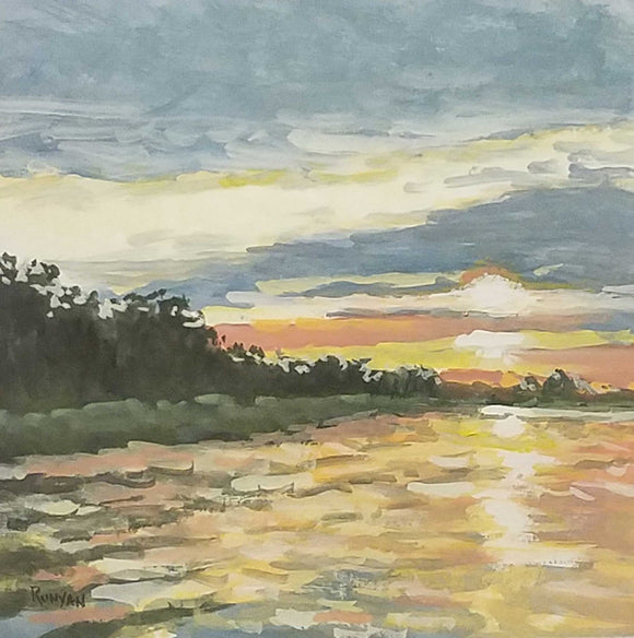 Gentle Sunset Gouache Painting by Douglas Runyan