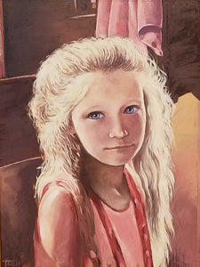 Girl In Pink Oil on Panel Painting by James Tracy