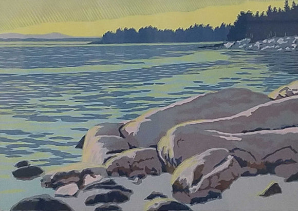 Granite Coast Woodcut Print by Mark Burkett