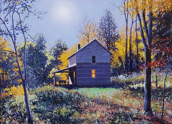 A Fredrick Vance Prize Winner 2019  Title: Moonlit Cabin Artist: James Tracy Medium: Oil   Size: 12