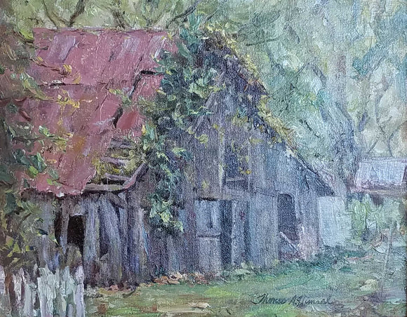 Painting: New Harmony Barn Artist: Thomas A. Himsel Medium: Oil   Size: 11