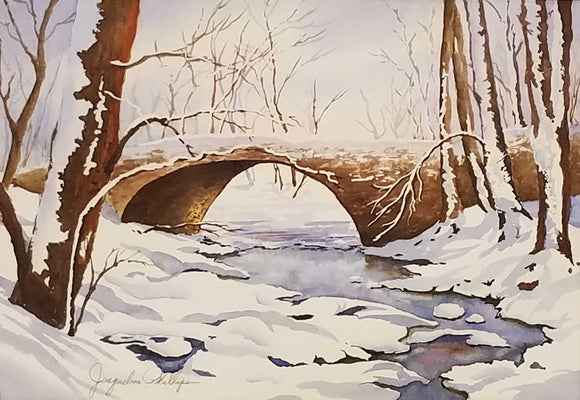 Over The River Watercolor by Jacqueline Phillips