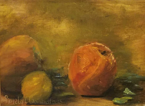 Peachy Oil Painting by Pamela Campbell