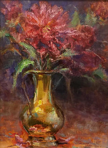 Peonies & Brass Oil on Fine Linen Painting by Wayne Campbell