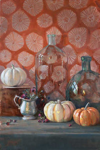 "Title: Pewter, Glass and Squash Artist: Stephanie Spay Medium: Oil on Canvas Size: 30"" x 20"", framed"
