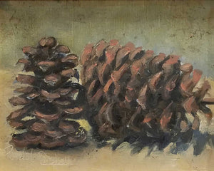 Pine Cones Oil Painting by Pamela Campbell