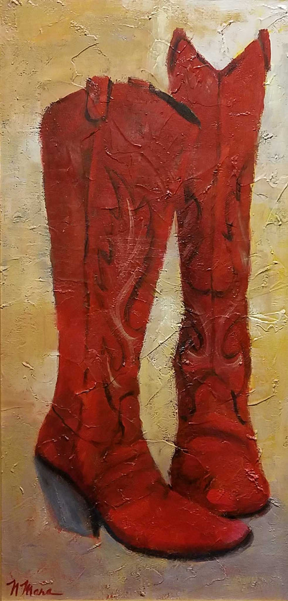 Red Boots Oil Painting by Norene Mara