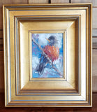 "Title: Red Breast Artist: Kathy Blankenheim Medium: Oil Size: 5"" x 7"", Framed 15"" x 13"""