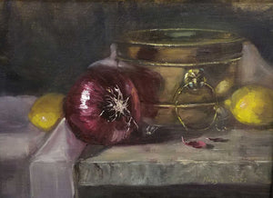 Red Onion & Brass Lion Oil Painting by Maggie Rapp