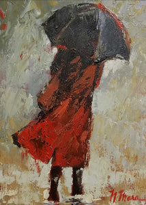 Red Raincoat Oil Painting by Norene Mara