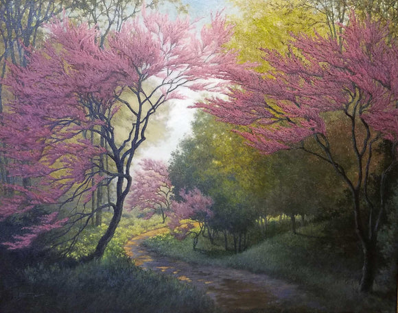 Redbud Realm Oil Painting by Sharon Steiner