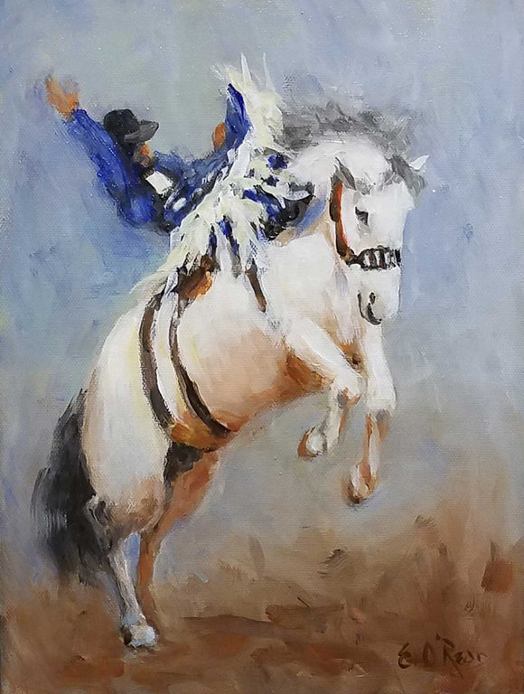 Ride em' Cowboy Acrylic Painting by Elizabeth O'Rear