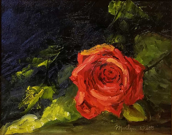 Rose Red Oil Painting by Marilyn Witt