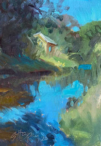 "Title: Shack Along The River Artist: Stephanie Spay Medium: Oil on Canvas Size: 7"" x 5"", framed"