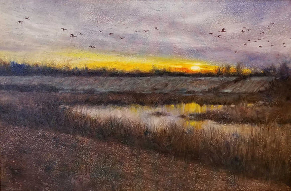 Sound Of Geese Overhead Oil Painting by Karen Graeser
