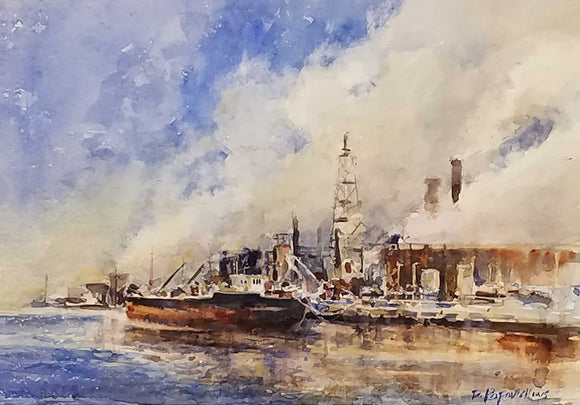 Steamdrenched Harbor Watercolor Painting by Dale L. Popovich