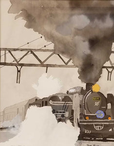 Steamin' Home Watercolor Painting by Thomas Tuley